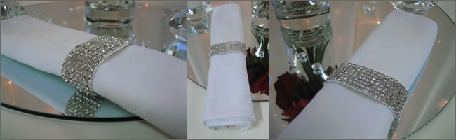 Diamante table napkins for hire. Auckland